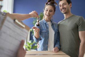 Couple finally getting home keys